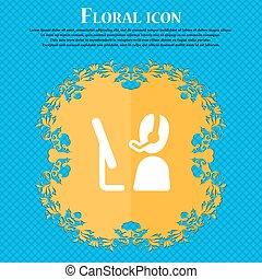 青, 平ら, 印。, text., あなたの, ベクトル, デザイン, 背景, テレマーケティング, 花, 場所, 抽象的, アイコン