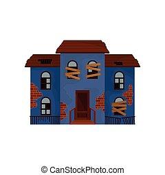 青, 平ら, 古い, 捨てられた, 窓, 家, の上, 私用, theme., 壊される, ベクトル, デザイン, roof., home., 建物。, 乗り込まれた, 建築