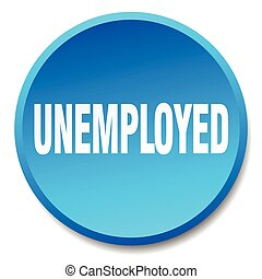 青, 平ら, 失業者, 隔離された, ラウンド, 押しボタン