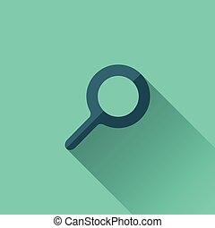 青, 平ら, 捜索しなさい, デザイン, icon.