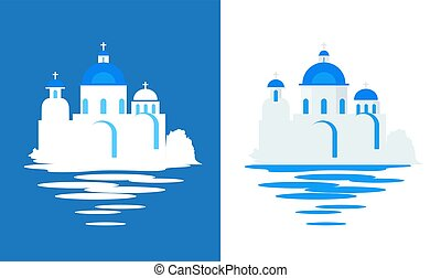 青, 平ら, 旅行, -, ドーム, イラスト, ギリシャ語, ベクトル, 教会