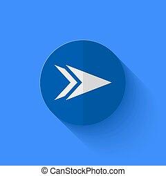 青, 平ら, 現代, ベクトル, 円, icon.