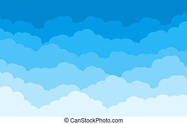 青, 平ら, 空, 漫画, 雲, 背景, ベクトル
