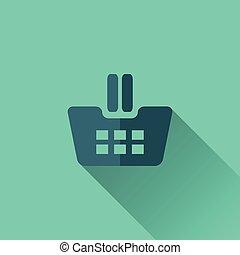 青, 平ら, 買い物カート, デザイン, icon.
