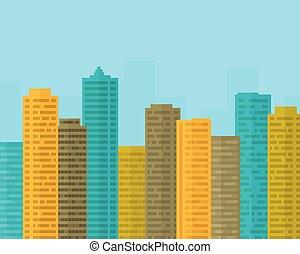 青, 平ら, 都市, 大きい空, デザイン, 超高層ビル, 下に