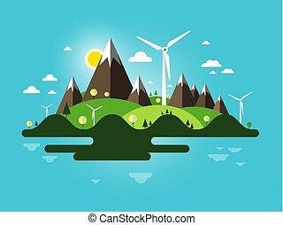 青, 平ら, 風車, 島, 抽象的, 自然, scene., ベクトル, デザイン, sky., 景色。, 山