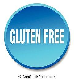 青, 平ら, gluten, ボタン, 隔離された, 無料で, 押し, ラウンド