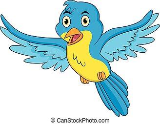 青, 幸せ, 飛行, 漫画, 鳥