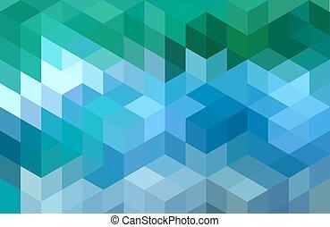 青, 幾何学的, 緑の背景