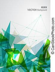 青, 幾何学的, 緑, ネットワーク, transparency.