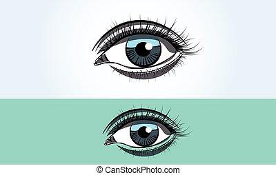 青, 広く, 目, の上, 現実的, 女性, 終わり, 開いた