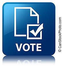 青, 広場, ボタン,  (survey, 投票,  icon)