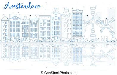 青, 建物, アウトライン, スカイライン, reflections., アムステルダム