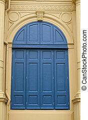 青, 建物, 古い, 窓