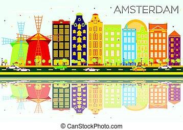 青, 建物, 色, 抽象的, 空, スカイライン, reflections., アムステルダム