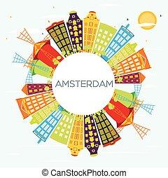 青, 建物, 色, 空, space., スカイライン, アムステルダム, コピー