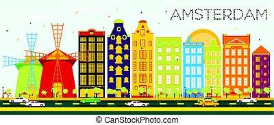 青, 建物, sky., 色, 抽象的, スカイライン, アムステルダム