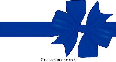 青, 弓, 白, 隔離された, 贈り物, リボン, 背景