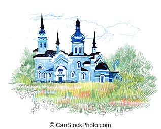 青, 引かれる, 教会, field., 手