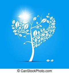 青, 形づくられた心, 抽象的, 木, ベクトル, 背景