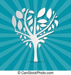 青, 形づくられた心, 抽象的, 木, レトロ, 背景