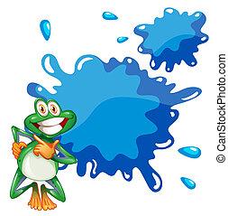 青, 微笑, 空, テンプレート, カエル