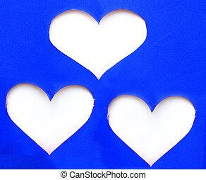 青, 心, 上に, 引き裂かれた, 山, 形, ペーパー, 背景, 白, シンボル