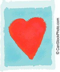 青, 心, 抽象的, 明るい, 背景, 赤