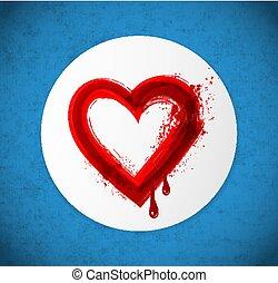 青, 心, 日, グランジ, 大きい, 挨拶, バレンタイン, バックグラウンド。, s, カード, 円, 白い赤, 血