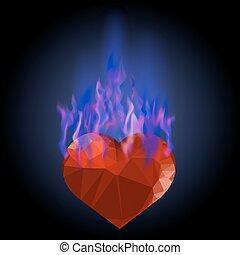 青, 心, 炎, 火, 燃焼