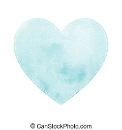 青, 心, 白い背景