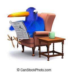 青, 快適である, 読む, ペーパー, 椅子, 鳥, 3d