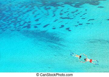 青, 恋人, 水, 無人機, 海, ゆとり, snorkeling, 光景