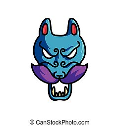 青, 恐い, 色, マスク, 悪魔, 動物, すみれ, 口ひげ