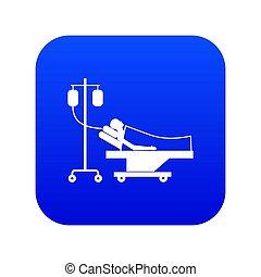 青, 患者, 滴り, ベッド, デジタル, アイコン