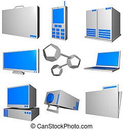 青, 情報, セット, ビジネス アイコン, 産業, -, 灰色, 技術