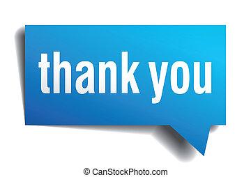 青, 感謝しなさい, 隔離された, 現実的, ペーパー, スピーチ, あなた, 泡, 白, 3D
