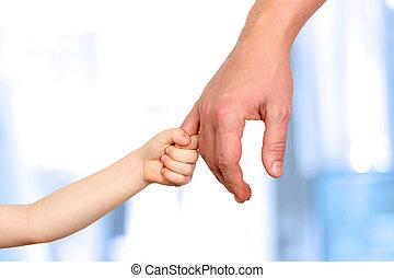 青, 手掛かり, 父, 手, 背景, 子供, 小さい