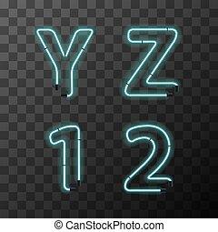 青, 手紙, 型, ネオン, 手紙, 1, 現実的, 明るい, 2, y, z, 透明