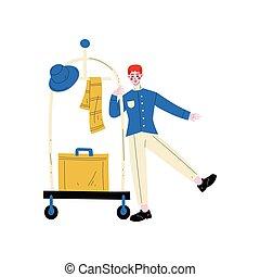 青, 手荷物, ホテル, 特徴, bellman, ユニフォーム, ボーイ, ベクトル, ボーイ, イラスト, スーツケース, カート, ∥あるいは∥, スタッフ