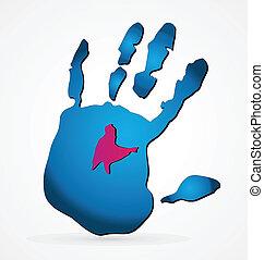 青, 手, ロゴ, グランジ
