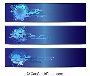青, 技術, ベクトル, 旗