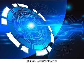 青, 技術, 背景, 抽象的, デジタル, 技術, 円