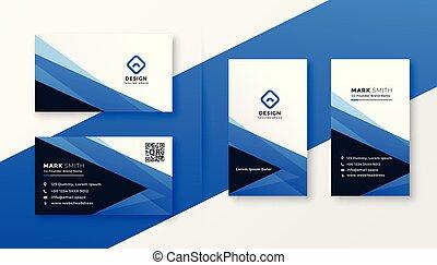 青, 抽象的なデザイン, 名刺