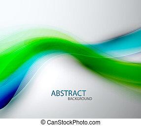 青, 抽象的, ぼんやりさせられた, 緑の背景, 波