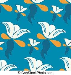 青, 抽象的, イラスト, ベクトル, 背景, 花