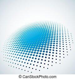 青, 抽象的, スポット, space., halftone, ベクトル, 背景, コピー