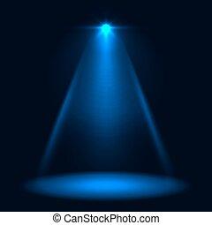 青, 抽象的, バックグラウンド。, ベクトル, スポットライト, ステージ