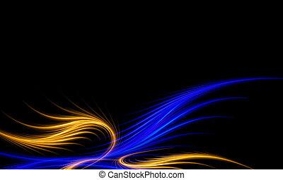 青, 抽象的, フラクタル, 背景, 金