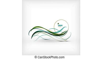 青, 抽象的, ライン, 波, デザイン, 最小である